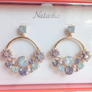 🆕 Natasha Earrings Dangle Gold Floral Rhinestones